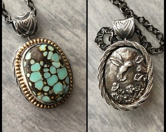 Sterling Silver and 14k Gold Reversible Spinner Pendant with Poseidon Variscite and Hummingbird Cameo in Fine Silver, Handmade Silver Work