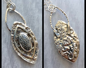 Mineral & Menagerie Collection: Fossil Snakeskin Stone and Reticulated Silver Pendant with Silver Gecko on Back, Hidden Animal Talisman
