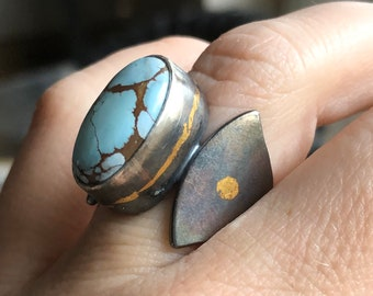 Gobi Desert Turquoise Ring with Thick Silver Band and 24k Gold Detail, Edgy Ring, Lavender Turquoise, Handcrafted Silver with Keum-Boo Gold