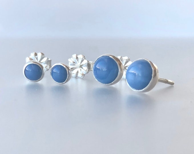 Featured listing image: Peruvian Blue Opal and Sterling Silver Stud Earrings, Blue Gemstone Post Earrings, Handmade Silver Gemstone Jewelry, Natural Gemstone Posts