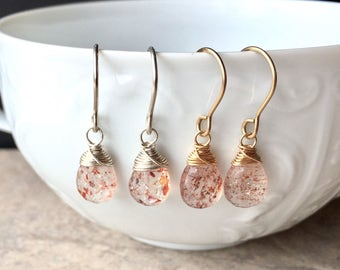 Sunstone Earrings, Large Sunstone Drops, Uncommon Gemstone Drops, Coppery Gemstone with Flecks, Unusual Gemstone, Stunning Gemstone Earrings