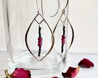 Lotus Collection: Hammered Leaf Ruby and Spinel Earrings, Silver Leaf Hoops with Red and Black Gemstones, Big Lightweight Gemstone Earrings