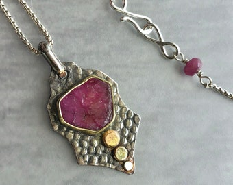 Gold and Silver Raw Ruby Slice Necklace, Ruby Necklace with 18k Gold Bezel, Dark Oxidized Textured Silver, and Bright Yellow Gold Accents