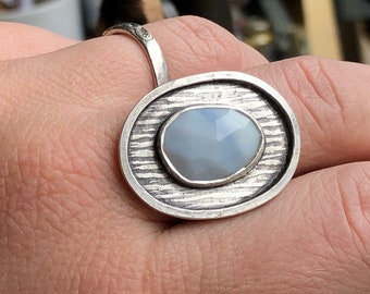 Blue Peruvian Opal Ring with Tree Bark Pattern and Hidden Detail on Back, Large Oval Woodland Ring, Sky and Tree Ring