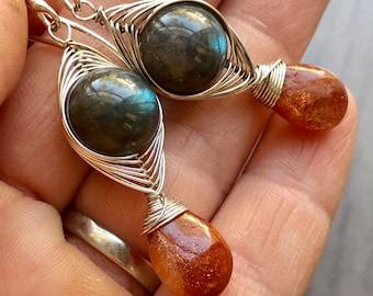 Labradorite and Sunstone Earrings,  Herringbone Earrings, Herringbone Weave Wire Wrapped Earrings, Woven Wire Earrings, Labradorite Spheres