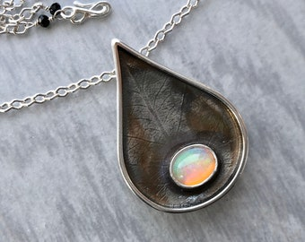 Sterling Silver and Opal Pendant with Real Leaf Imprint, Concave Leaf Necklace with Large High Quality Ethiopian Opal, Handmade Silver Work