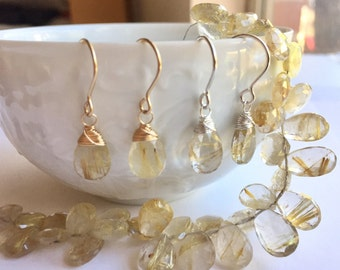 Luxe Gemstone Collection: Rutilated Quartz Drop Earrings, Uncommon Gemstone Drops, Smooth Golden Rutile Earrings, Stunning Gemstone Earrings