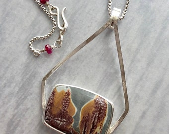 Artemis Collection: Sonoran Dendritic Rhyolite Necklace with Scenic Tree Landscape, Textured Silver Square Wire Pendant, Tree Bark Pattern