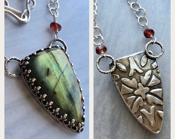 Featured listing image: Aphrodite Collection: Flashy Green and Gold Labradorite Dagger Pendant with Patterned Back, Romantic Statement Necklace, Jewelry Gift