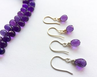 Amethyst Earrings, Amethyst Drops, Gemstone Drops, Purple Earrings, Luscious Drop Earrings, Purple Teardrop Earrings, Gift for Her under 30