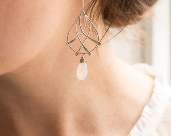 Nouveau Deco Collection: AAA Moonstone Woven Silver Earrings, Artisan Silver Earrings, Blue Moonstone Teardrops, Bohemian Gemstone Earrings