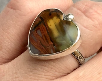 Aphrodite Collection: Red Creek Jasper Heart Ring, Earthy Valentine Gift, Heart Shaped Stone Ring, Earth Tone Unique Jasper, Cherry Creek