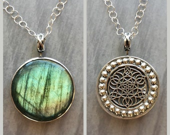 Lotus Collection: Reversible Labradorite Mandala Necklace, Large Round Green Flash Labradorite Mandala Spinner Necklace with Surprise Back