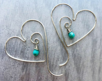 Aphrodite Collection: Turquoise Heart Hoops with Natural Sleeping Beauty Turquoise, Wire Threader Earrings, Romantic Gift Earrings