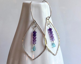 Lotus Collection: Hammered Leaf Amethyst and Apatite Earrings, Large Light Gem Earrings, Silver Leaf Hoops with Bright Gemstones
