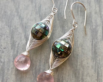 Paua Shell Mosaic and Rose Quartz Herringbone Woven Earrings, Iridescent Shell Herringbone Woven Earrings, Disco Ball Mosaic Earrings