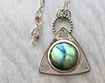 Labradorite Fleur-de-Lis Necklace with Damask Pattern on Reverse, Artisanal Silver Jewelry, Hand Fabricated Silverwork Fleur De Lis Necklace