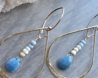 Lotus Collection: Hammered Teardrop Blue Peruvian Opal Earrings, Blue Opal Earrings, Zen Earrings, Trendy Jewelry Gift, Boho Opal Chandelier