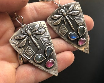Big Dragonfly Earrings with Pink Tourmaline and Labradorite, Stamped Silver Earrings, Artisanal Handmade Silver Jewelry