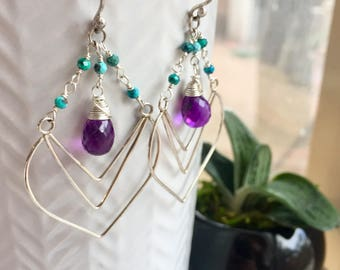 Nouveau Deco Collection: Amethyst and Turquoise Chevron Chandelier Earrings, Art Deco Earrings with High Quality Gemstones, Boho Luxe Gems