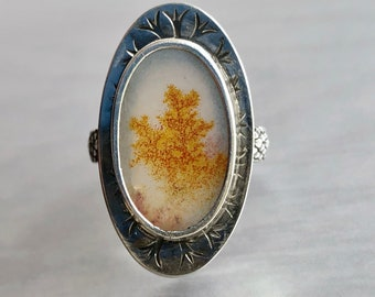 Artemis Collection: Scenic Dendric Agate Ring with Gold Tree Pattern, Tree of Life Ring, Stamped Silver and Cedar Scale Patterned Band
