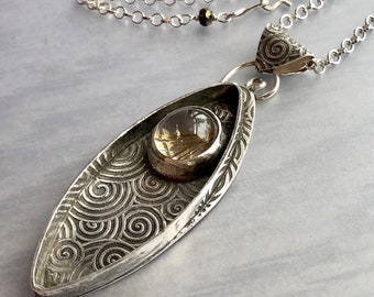 Lotus Collection: Marquise Spiral Shadowbox Pendant with Golden Rutilated Quartz, Thick Textured Silver, Modern Art Jewelry, Artisan Silver