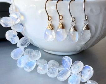 Blue Moonstone Drop Earrings, Elegant Luxe Gemstone Earrings, Jewelry from Bride, Mother of the Groom Jewelry Gift from Bride, Gift from Son