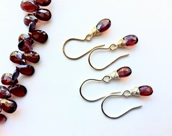 Garnet Earrings, Garnet Drops, Red Earrings, Garnet Drop Earrings, Red Teardrop Earrings, January Birthstone Earrings, For Her Under 30