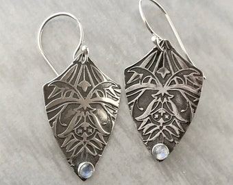 Blue Moonstone Earrings with Art Deco Floral Pattern, Patterned Textured Silver, Handmade Silver Dangle Earrings, Elegant Moonstone Earrings