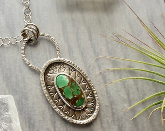 Artemis Collection: Green Treasure Mountain Turquoise Pendant with Stamped Mandala, Natural Turquoise Necklace, Artisan Silver Shadow Box