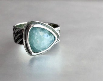 Aquamarine Ring with Wide Chevron Pattern Band, Trillion Rose Cut Aquamarine, Edgy Stone Artisan Ring, Thick Handcrafted Artisanal Silver