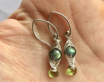 Herringbone Collection: Labradorite and Peridot Woven Wire Earrings, Green Flash Earrings, Sterling Silver Wire Wrapped Earrings