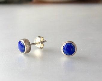 Lapis Lazuli and Sterling Silver Stud Earrings, Royal Blue Gemstone Post Earrings, Handmade Silver Gemstone Jewelry, Natural Gemstone Posts