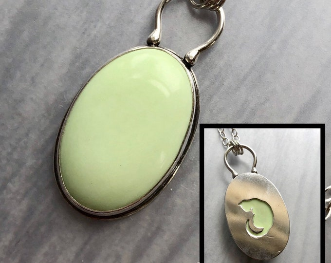Featured listing image: Mineral & Menagerie Collection: Reversible Cat Pendant with Lemon Chrysoprase, Cat Necklace, Chartreuse Necklace, Yellow Green Stone Jewelry