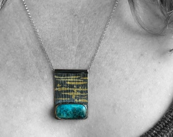 Whitewater Turquoise Necklace with Fused Gold, Rare Turquoise and Sterling Silver with Gold Keum-boo, Modern Artisanal Mixed Metals Necklace