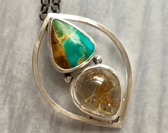 Lotus Collection: Modern Leaf Pendant with Royston Turquoise and Golden Rutilated Quartz, Zen Jewelry, Modern Minimalist Nature Jewelry