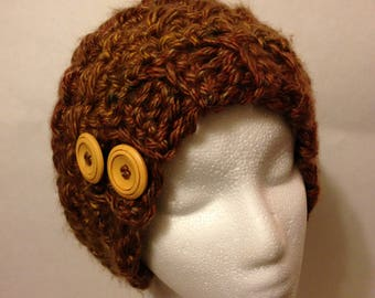 Chunky Brown Slouch beanie with Buttons
