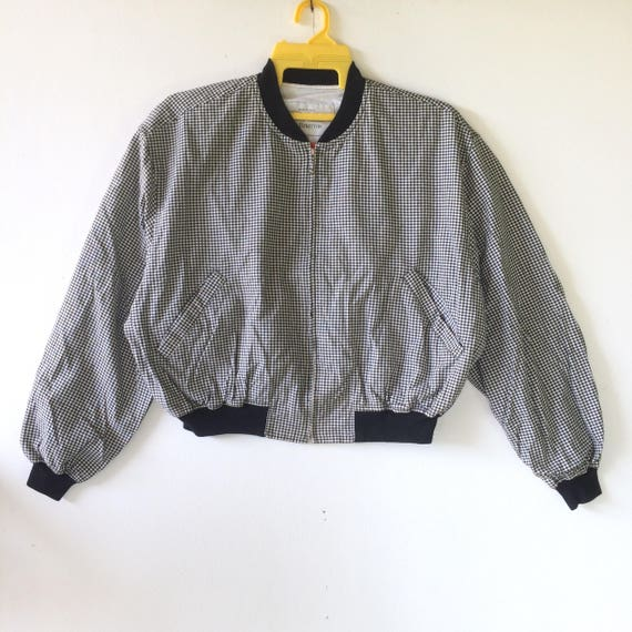 Vintage bomber jacket United Color benetton small chekered made in italy Large size
