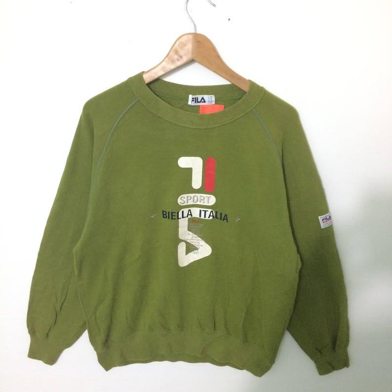 Fila Sports Green Color Crewneck Sweatshirt Big Logo hiphop swag lolife