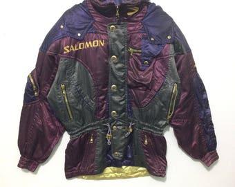 SALOMON Jacket Vintage 90's Salomon Optimal Movement Winter Ski Wear Zipper Jacket Colorblock