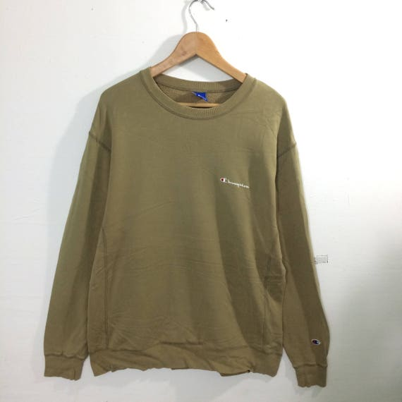 Spellout Champion Olive CrewneckEtsy Chest Pullover Green SUVjGqzMLp