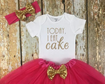 Today I Eat Cake, First Birthday Outfit, Pink and Gold Birthday, Birthday Girl, Cake Please, Cake Smash Outfit, One, Birthday Tutu Outfit