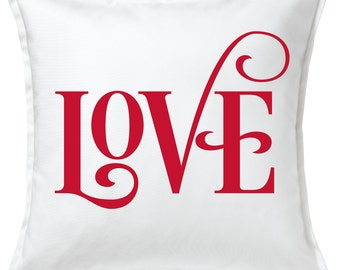 LOVE Script  -  Valentines Day Pillow