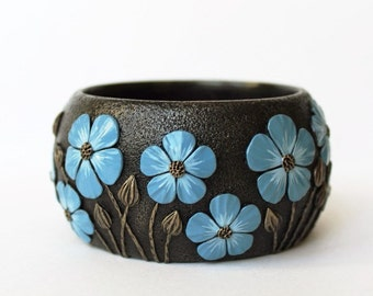 Wide Bracelet for Women Bangle Blue Flower Chunky Wearable  Floral  Summer Exclusive Polymer Clay Bracelet Bangle Birthday Gift
