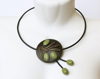 Olive Branch Necklace Pendant Jewelry Berries Round  Statement Summer Art Polymer Clay Bib Necklace Pendant Birthday Gift