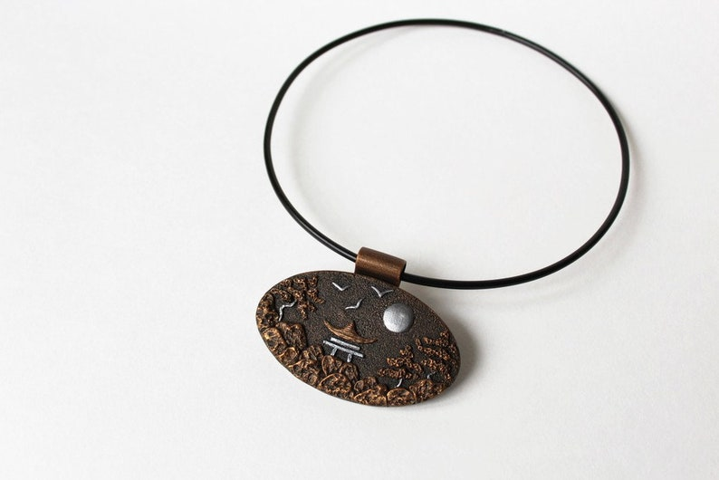 Polymer Clay Jewelry Pendant Necklace Silver Copper Japanese Ethnic  Polymer Clay Jewelry Pendant Necklace Mothers Day Gift