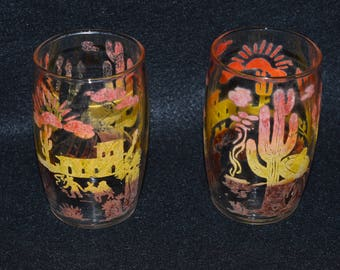 Vintage Mexico Glass Tumblers, Hand Decorated Tumblers, Cactus Sombrero Siesta Pattern, Old West Decor, Pair of Collectible Drinking Glasses