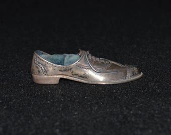 Sterling Shoe Pincushion, Antique Silver Shoe, Men's Shoe Pincushion, 925 Sterling Silver, Victorian Pincushion, Sterling Silver Shoe