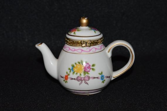 Porcelain Trinket Dish Hinged Keepsake Box Miniature China Teapot Teapot Trinket Pot