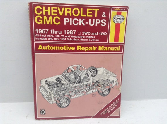 gtwc 10 haynes auto repair manual vintage gmc chevrolet etsy rh etsy com gm auto repair manuals 92 GMC Repair Manuals GMC
